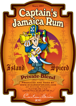 Cartoon Drink Label Captain's Rum