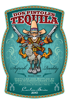 Cartoon Drink Label Dos Pistoles Tequila
