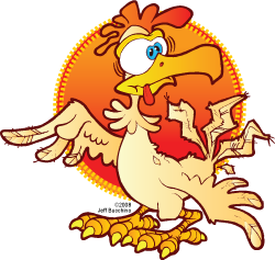 cartoon crazy rooster