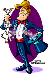 cartoon magician pulling rabbit out of a hat